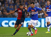 Roberto Soriano of UC Sampdoria is challenged by Tomas Rincon of Genoa CFC during the Serie A match between Genoa CFC and UC Sampdoria at Stadio...