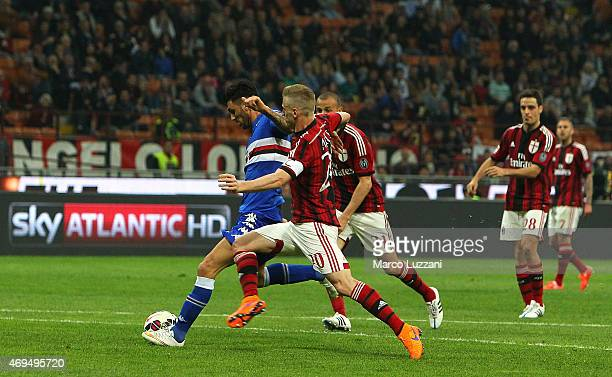 Roberto Soriano of UC Sampdoria scores the opening goal during the Serie A match between AC Milan and UC Sampdoria at Stadio Giuseppe Meazza on April...