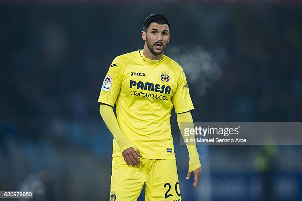 Roberto Soriano of Villarreal CF reacts during the Copa del Rey Round of 16 first leg match between Real Sociedad de Futbol and Villarreal CF at...