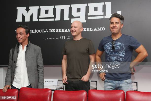 Roberto Sosa Ari Brickman and Moises Arizmendi attend a press conference and photocall to promote the film 'El Complot Mongol' at Club de Periodistas...