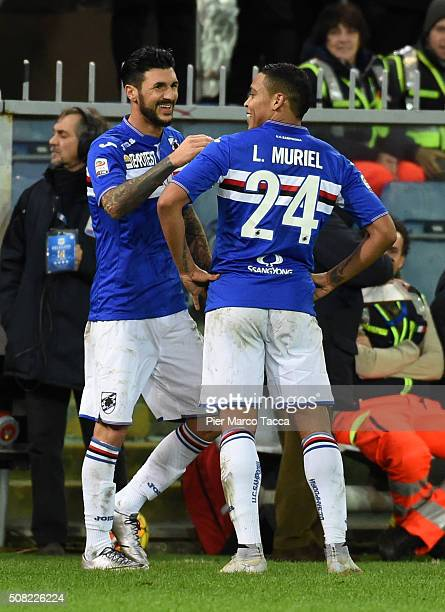 Roberto Sporiano of UC Sampdoria celebrates with Luis Muriel during the Serie A match between UC Sampdoria and Torino FC at Stadio Luigi Ferraris on...