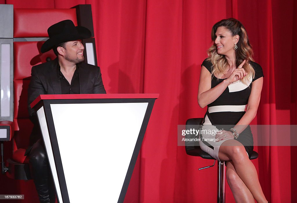 Roberto Tapia and <a gi-track='captionPersonalityLinkClicked' href=/galleries/search?phrase=Daisy+Fuentes&family=editorial&specificpeople=201611 ng-click='$event.stopPropagation()'>Daisy Fuentes</a> attend a press conference for Telemundo's 'La Voz Kids' on May 2, 2013 in Miami, Florida.