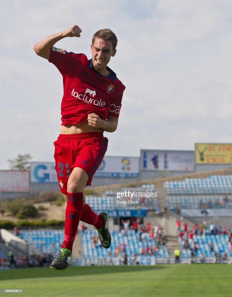 Roberto Torres of Osasuna celebrates after scoring his team's opening goal against Getafe during the La Liga match between Getafe CF v CA Osasuna at...