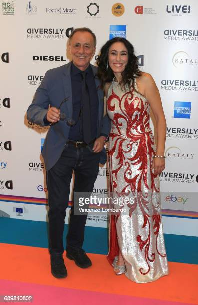 Roberto Vecchioni and Francesca Vecchioni attend Diversity Media Awards Charity Gala Dinner on May 29 2017 in Milan Italy