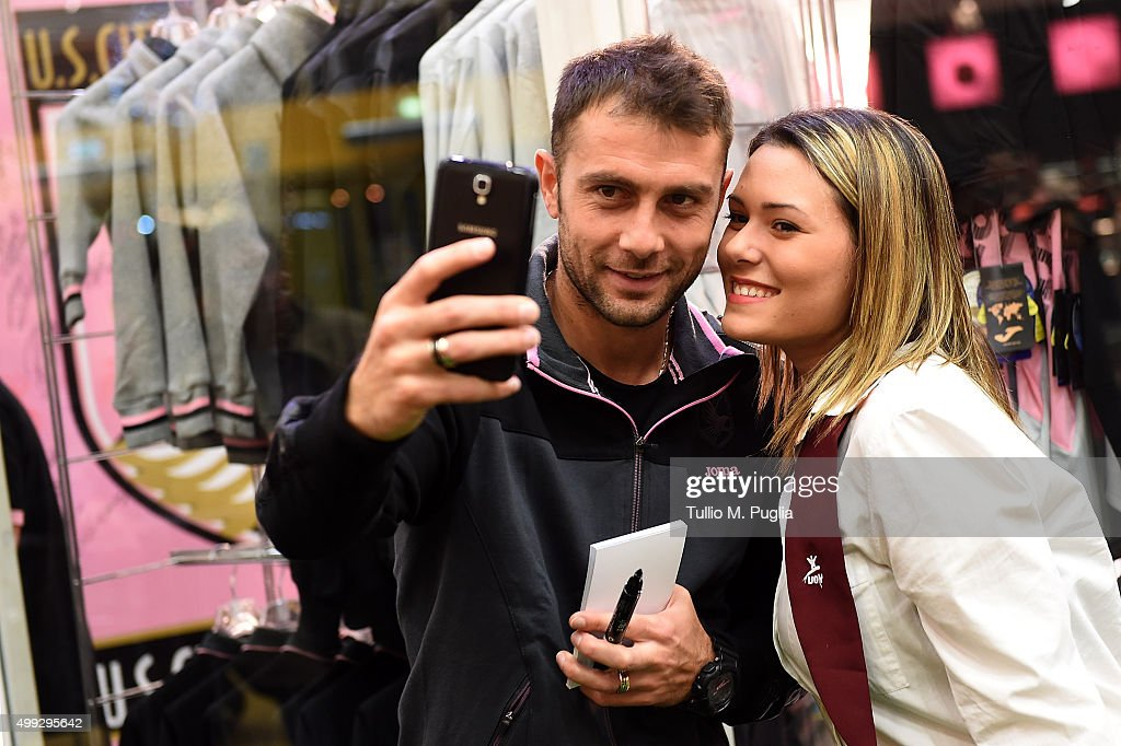 Roberto Vitiello of US Citta' di Palermo meets supporters at Palermo Official Strore at Conca d'Oro shopping center on November 30 2015 in Palermo...
