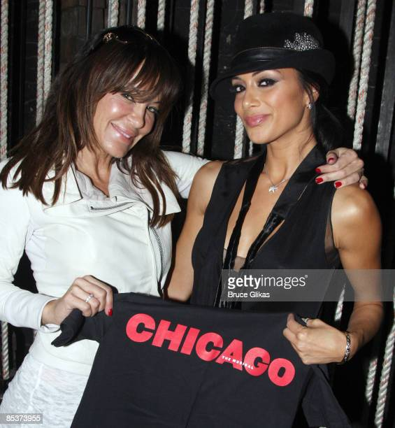 Robin Antin and the Pussycat Doll's lead singer Nicole Scherzinger visit backstage at 'Chicago' on Broadway at The Ambassador Theater on March 10...
