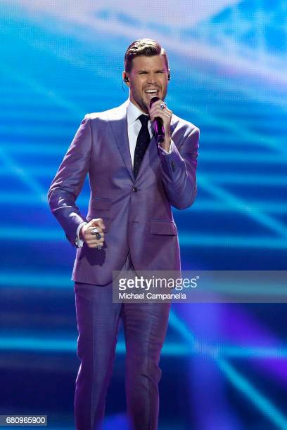 Robin Bengtsson representing Sweden performs the song 'I Can't Go On' during the first semi final of the 62nd Eurovision Song Contest at...