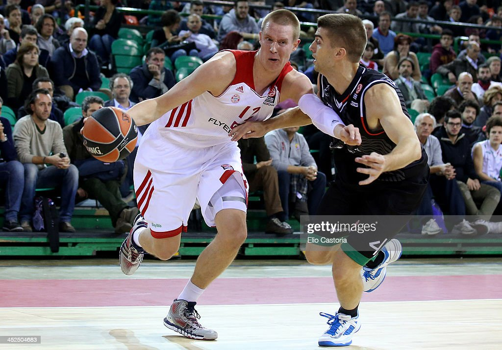 Robin Benzing, #12 of FC Bayern Munich in action during the 2013-2014 Turkish Airlines Euroleague Regular Season Date 7 game between Montepaschi Siena v FC Bayern Munich at Nelson Mandela Forum on November 29, 2013 in Florence, Italy.