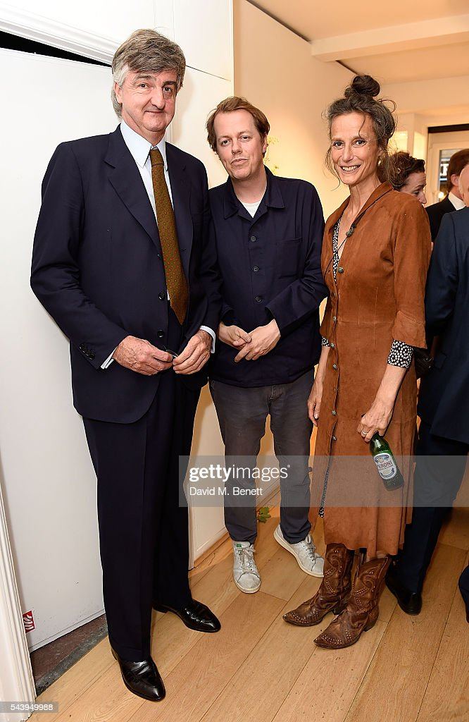 Robin Birley, Tom Parker Bowles and Tracy Louise Ward attend the exhibition launch party of 'The Zero Hour Panoramas' by Jolyon Fenwick. The exhibition consists of 14 photographic panoramas showcasing, '100 Years on: Views From The Parapet of the Somme', at Sladmore Contemporary on June 30, 2016 in London, England.