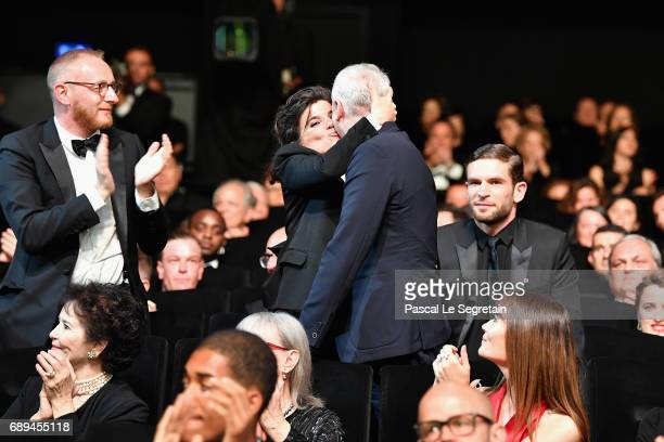 Robin Campillo reacts to winning the Grand Prix for the movie '120 Beats Per Minute' during the Closing Ceremony of the 70th annual Cannes Film...