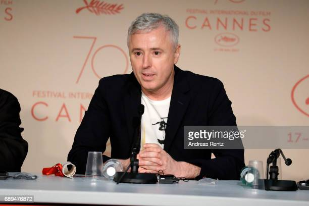 Robin Campillo winner of the Grand Prix for the movie '120 Beats Per Minute' attends the Palme D'Or winner press conference during the 70th annual...