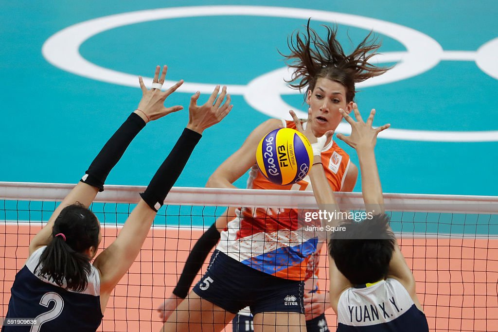 Robin de Kruijf of Netherlands in action during the Women's Volleyball Semifinal match at the Maracanazinho on Day 13 of the 2016 Rio Olympic Games...