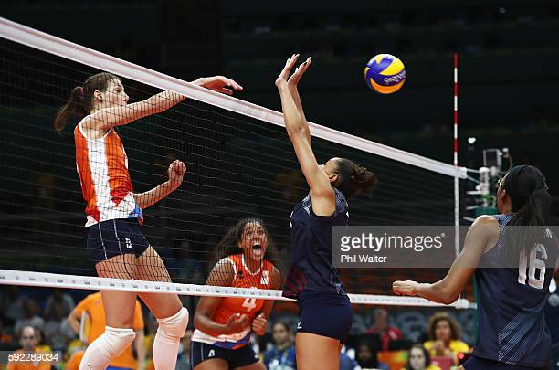 Robin de Kruijf of Netherlands spikes during the Women's Bronze Medal Match between Netherlands and the United States on Day 15 of the Rio 2016...