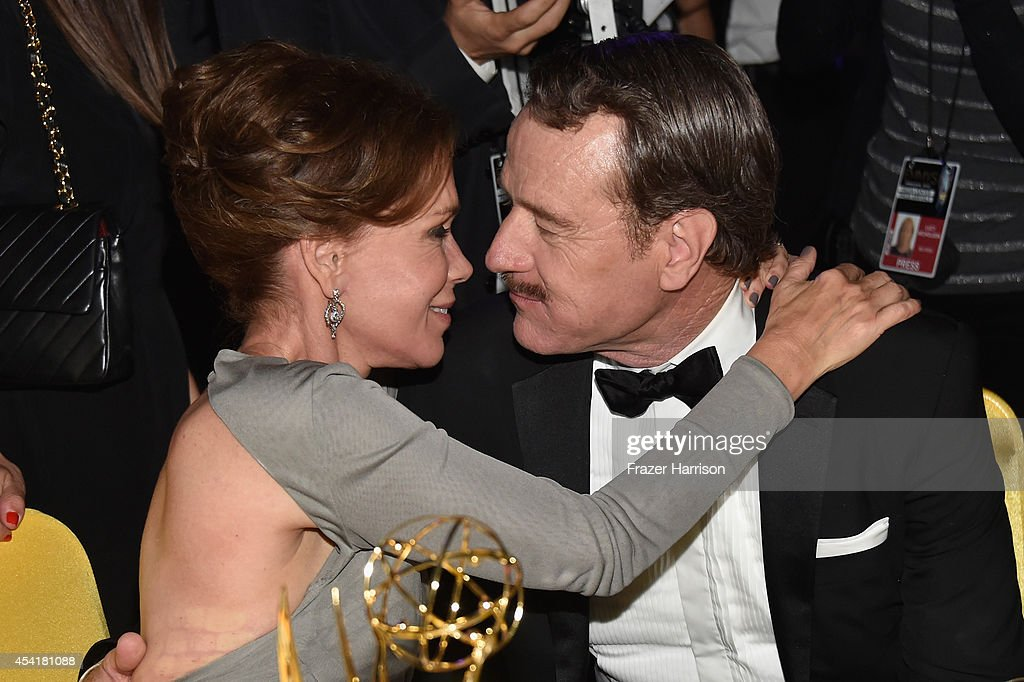 Robin Dearden (L) and actor Bryan Cranston attend the 66th Annual Primetime Emmy Awards Governors Ball held at Los Angeles Convention Center on August 25, 2014 in Los Angeles, California.