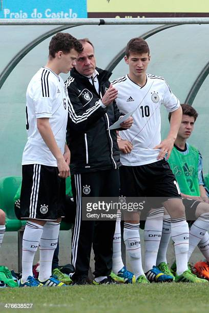 Robin Fellhauer Salih Ozcan of Germany during the UEFA Under16 Tournament match between U16 Portugal v U16 Germany on February 26 2014 in Guia...