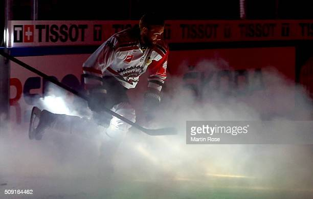 Robin Figren skates onto the ice before of Gothenburg battle for the puck during the Champions Hockey League final game between Karpat Oulu and...