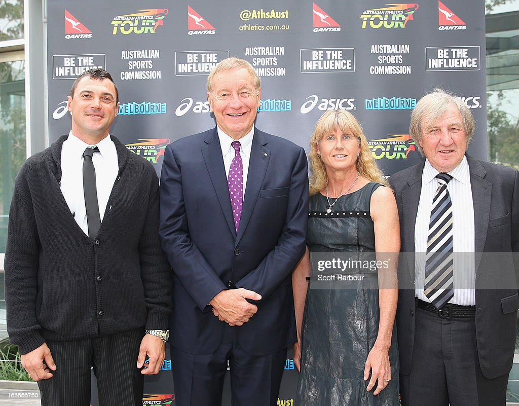 Robin Fildes (2nd L), President and Chairman of Athletics Australia poses with <a gi-track='captionPersonalityLinkClicked' href=/galleries/search?phrase=Dmitri+Markov&family=editorial&specificpeople=178268 ng-click='$event.stopPropagation()'>Dmitri Markov</a>, Kerry Saxby-Junna and Noel Freeman after they were inducted into the Athletics Australia Hall Of Fame during the John Landy Lunch on April 5, 2013 in Melbourne, Australia.