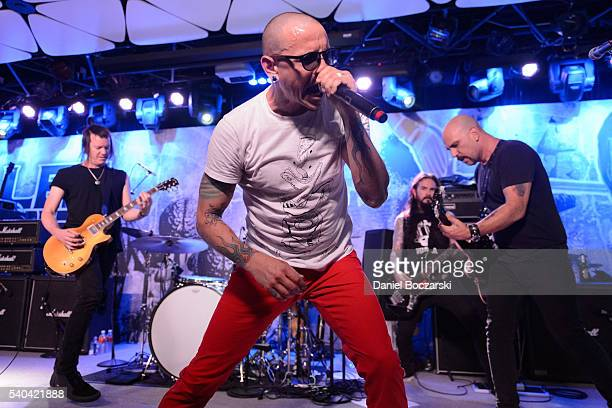 Robin Finck Chester Benningto Blasko and Dave Kushner of The Hellcaint Saints perform during the 'Let It Die' E3 event at Conga Room on June 14 2016...