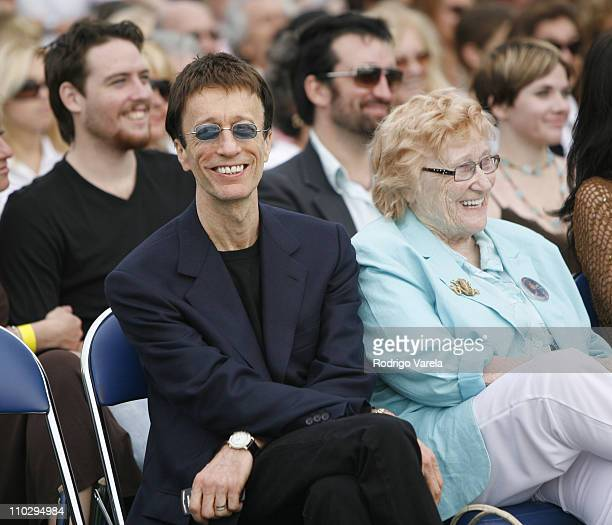 Robin Gibb and Barbara Gibb during Maurice Gibb Memorial Unveiling at Maurice Gibb Memorial Park in Miami Beach Florida United States