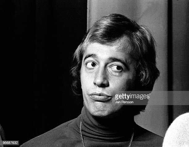 Robin Gibb from The Bee Gees posed at a Press Conference in Copenhagen Denmark in 1975