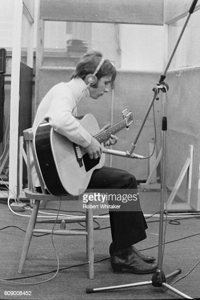 Robin Gibb of the Bee Gees is pictured during a recording session at the IBC Studios in London's Portland Place