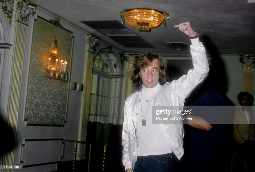 <a gi-track='captionPersonalityLinkClicked' href=/galleries/search?phrase=Robin+Gibb&family=editorial&specificpeople=211371 ng-click='$event.stopPropagation()'>Robin Gibb</a> of the pop group The Bee Gees attends a press conference to promote his movie 'Sgt. Pepper's Lonely Hearts Club Band' in 1978 in Los Angeles, California.