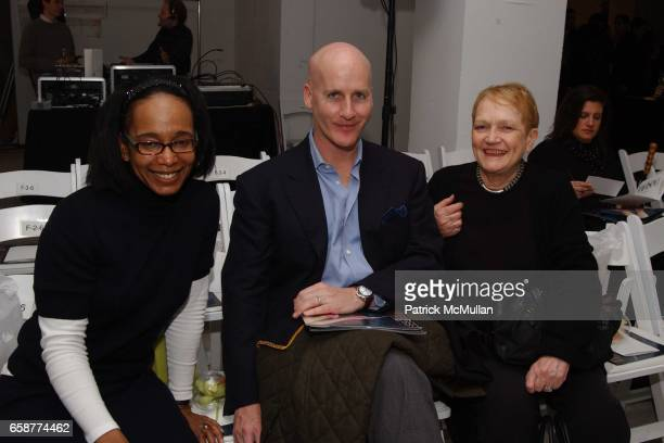 Robin Givhan Peter Arnold and Marylou Luther attends the DooRi Fashion Show Front Row at Mao Space on February 6 2004 in New York City