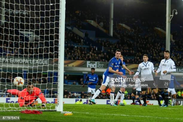 Robin Gosens of Atalanta scores a goal to make it 13 during the UEFA Europa League group E match between Everton FC and Atalanta at Goodison Park on...