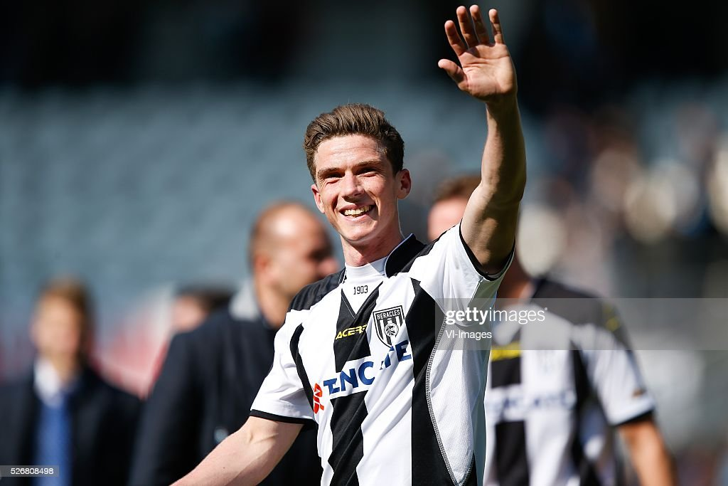 Robin Gosens of Heracles Almelo during the Dutch Eredivisie match between Heracles Almelo and ADO Den Haag at Polman stadium on May 01, 2016 in Almelo, The Netherlands