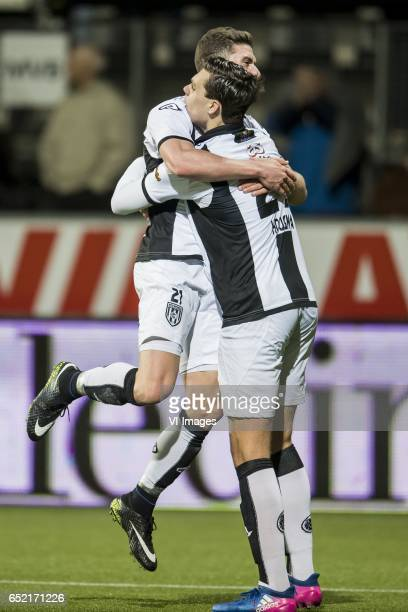 Robin Gosens of Heracles Almelo Justin Hoogma of Heracles Almeloduring the Dutch Eredivisie match between Heracles Almelo and FC Utrecht at Polman...
