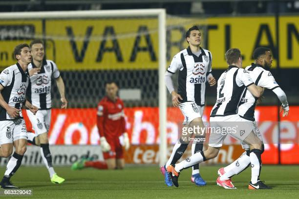 Robin Gosens of Heracles Almelo Mike te Wierik of Heracles Almelo Erwin Mulder of Heerenveen Justin Hoogma of Heracles Almelo Tim Breukers of...