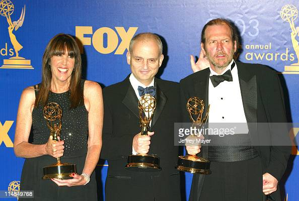 Robin Green David Chase and Mitchell Burgess with their Emmys for Outstanding Writing for a Drama Series for 'The Sopranos' at the 55th Annual Emmy...