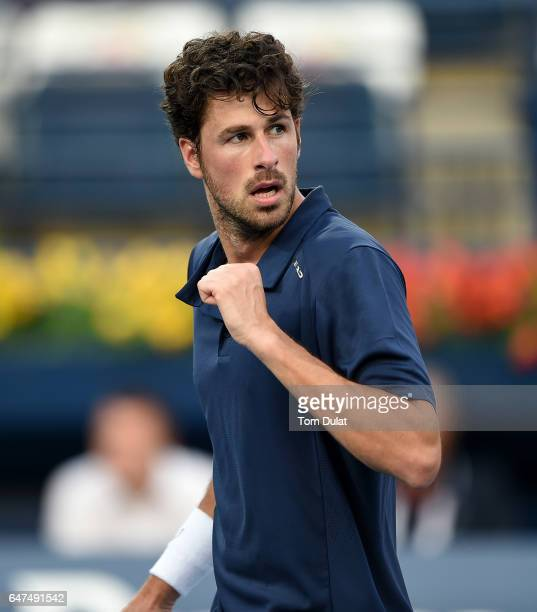 Robin Haase of Netherlands celebrates a point during his semi final match against Fernando Verdasco of Spain on day six of the ATP Dubai Duty Free...