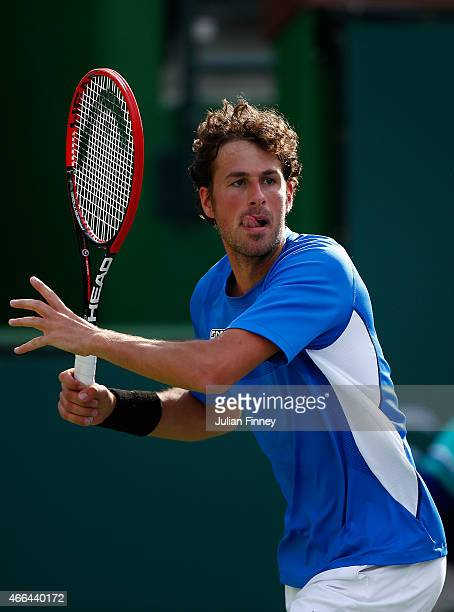 Robin Haase of Netherlands in action in his match against Stan Wawrinka of Switzerland during day seven of the BNP Paribas Open tennis at the Indian...