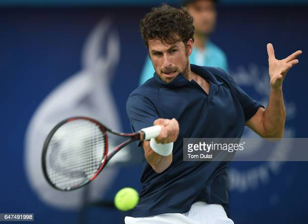 Robin Haase of Netherlands plays a forehand during his semi final match against Fernando Verdasco of Spain on day six of the ATP Dubai Duty Free...