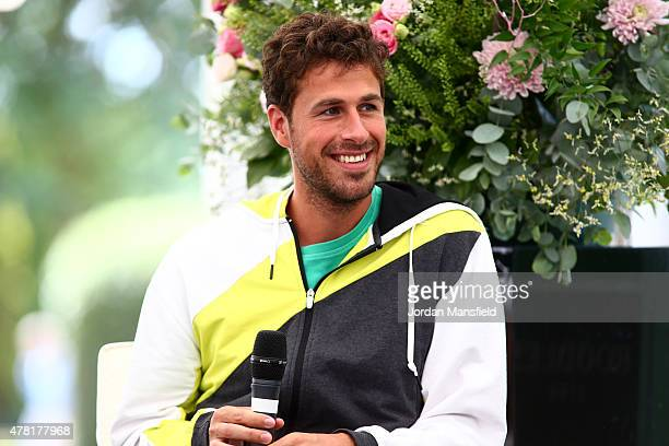 Robin Haase of the Netherlands gives an interview to Di Dougherty ahead of his match against Philipp Kohlschreiber of Germany during Day 1 of The...