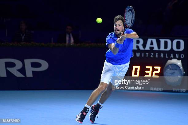 Robin Haase of the Netherlands in action during the Swiss Indoors ATP 500 tennis tournament match against Juan Martin Del Potro of Argentina at St...