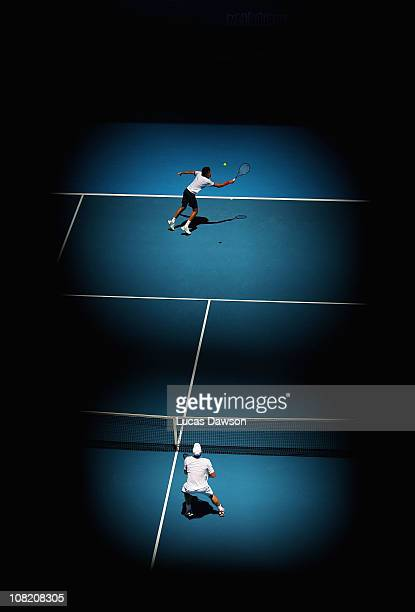 Robin Haase of the Netherlands plays a backhand in his third round match against Andy Roddick of the United States of America during day five of the...