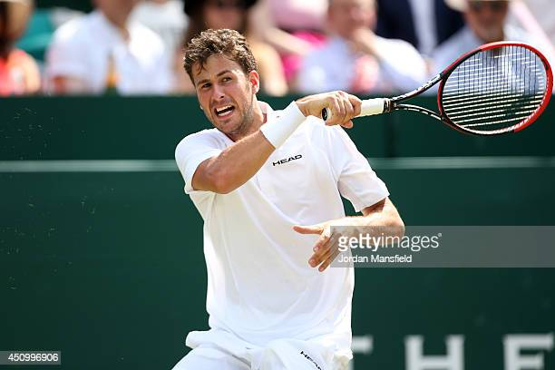 Robin Haase of the Netherlands plays a forehand against JanLennard Struff of Germany on day five of The Boodles Tennis Event at Stoke Park on June 21...