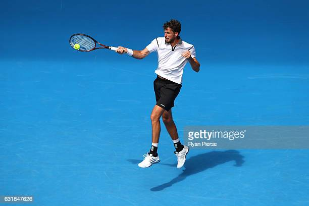 Robin Haase of the Netherlands plays a forehand in his first round match against Alexander Zverev of Germany on day two of the 2017 Australian Open...