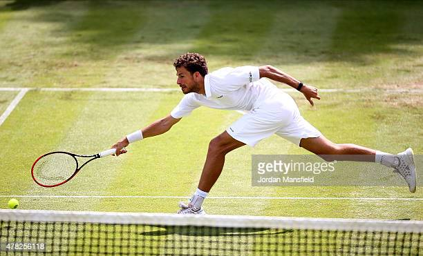 Robin Haase of the Netherlands reaches for a forehand during his match against Tommy Robredo of Spain during Day 2 of The Boodles Tennis Event at...