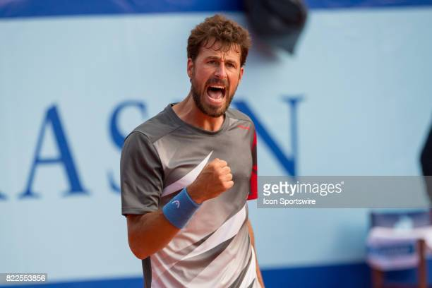 Robin Haase reacts after winning over Renzo Olivo during the ATP Swiss Open Gstaad on July 25 2017 at Roy Emerson Arena in Gstaad Switzerland