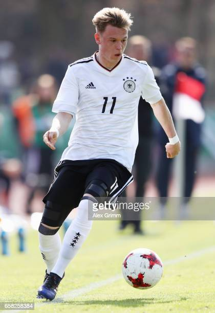 Robin Hack of Germany controles the ball during the UEFA Elite Round match between U19 Germany and U19 Serbia at Sportpark on March 25 2017 in...
