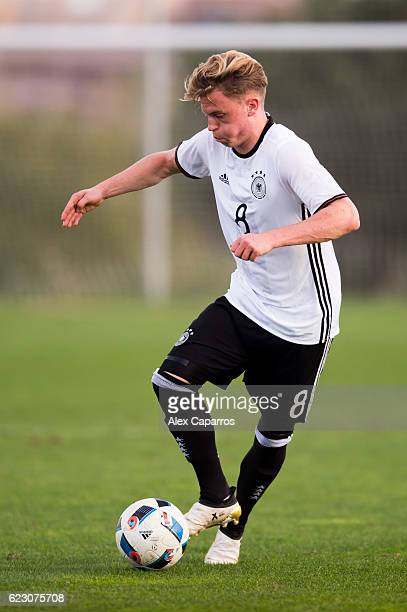 Robin Hack of Germany controls the ball during the U19 international friendly match between Czech Republic and Germany on November 13 2016 in Salou...