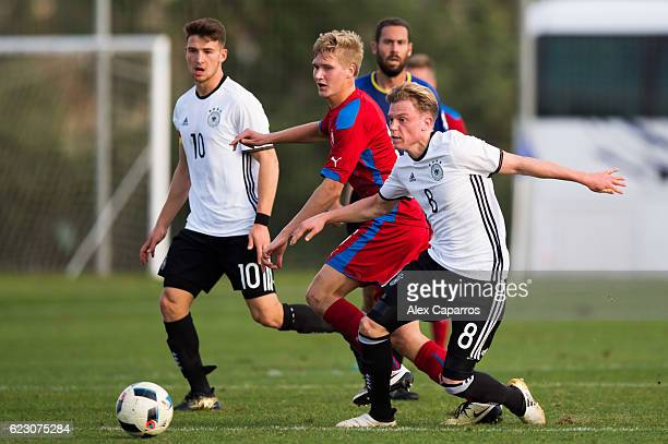 Robin Hack of Germany fights for the ball with Emil Tischler of Czech Republic during the U19 international friendly match between Czech Republic and...