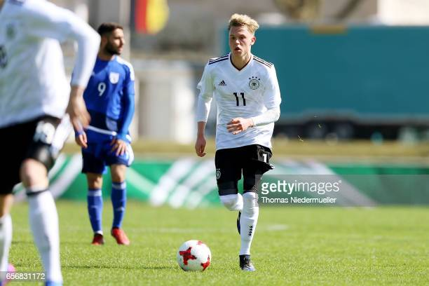 Robin Hack of Germany in action with the ball during the UEFA Under19 European Championship qualifiers between U19 Germany and U19 Cyprus on March 23...