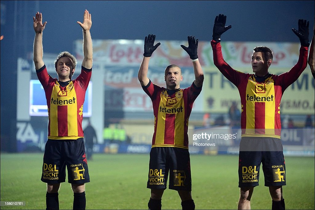 Robin Henkens - Alessandro Cordaro from Mechelen celebrate during the Jupiler League match between KV Mechelen and Sporting Club Lokeren Oost-Vlaanderen on December 8 , 2012 in Mechelen, Belgium