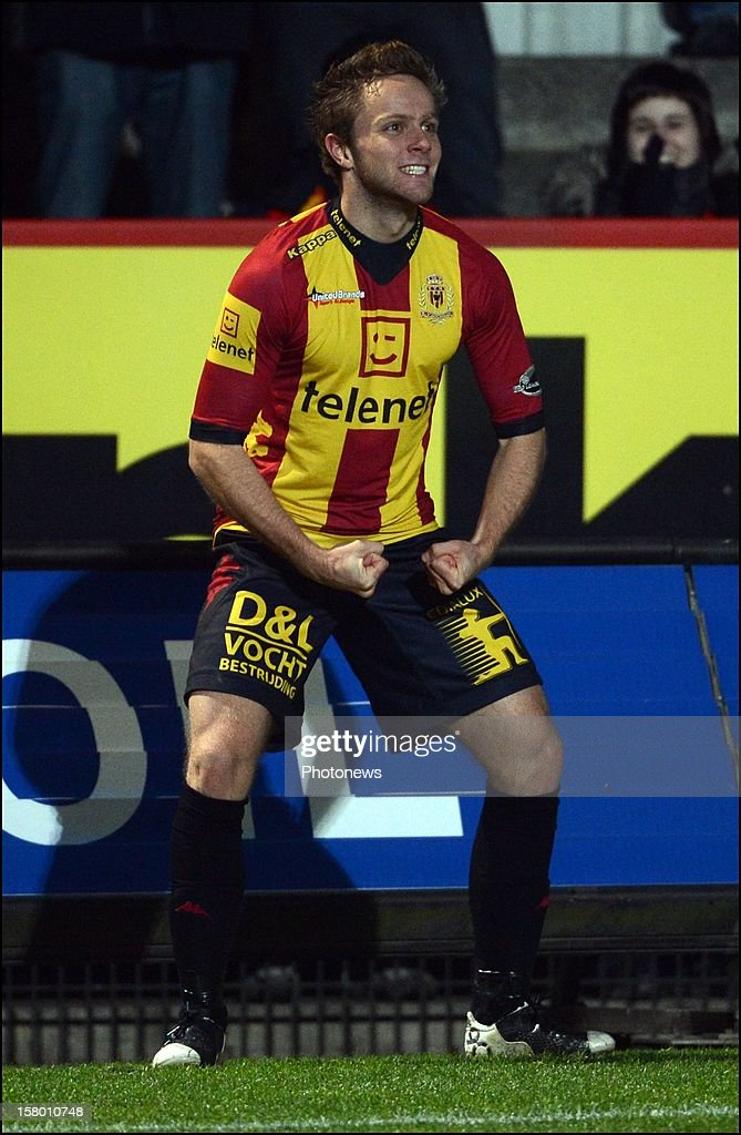 Robin Henkens from Mechelen in action during the Jupiler League match between KV Mechelen and Sporting Club Lokeren Oost-Vlaanderen on December 8 , 2012 in Mechelen, Belgium