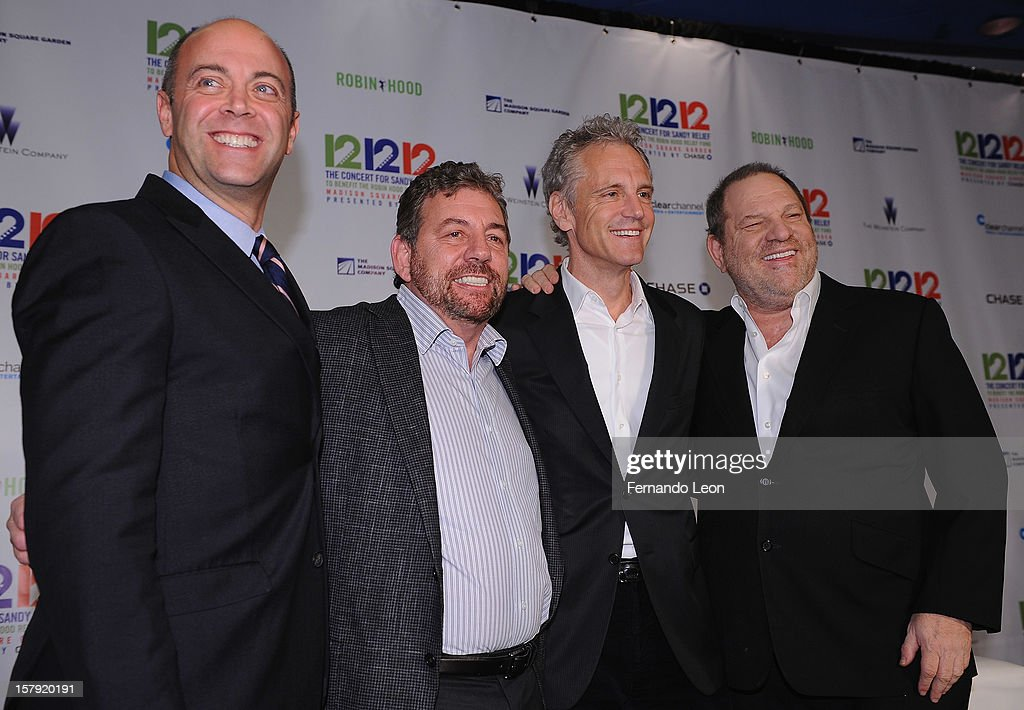 Robin Hood Foundation Executive Director David Saltzman with the show producers James Dolan John Sykes and Harvey Weinstein attend the 121212 Press...