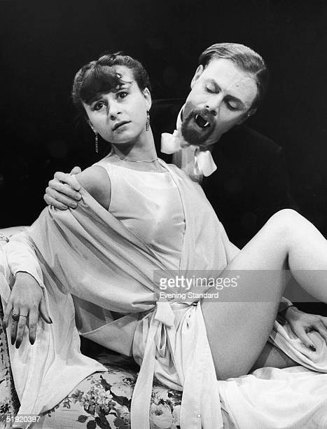 Robin Hooper and Tracey Ullman star as the vampire Count and his victim Lucy in the Young Vic's new production of 'Dracula' December 1980